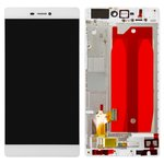 LCD compatible with Huawei P8 (GRA L09), (white, with touchscreen, with front panel, Original (PRC))