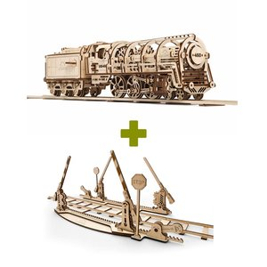 Mechanical 3D Puzzle UGEARS Bundle 2 in 1: Locomotive + Rails